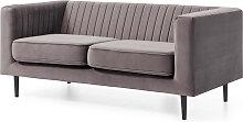 2-Sitzer Sofa mit Liniensteppung, grau