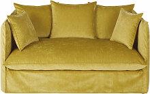 2-Sitzer-Sofa mit ockerfarbenem Samtbezug im