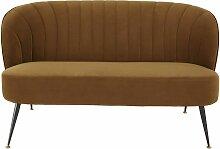 2-Sitzer-Sofa mit ockergelben Samtbezug Arielle