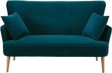2-Sitzer-Sofa mit petrolblauem Samtbezug