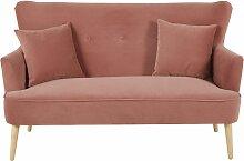 2-Sitzer-Sofa mit rosa Samtbezug