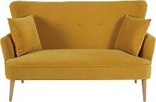 2-Sitzer-Sofa mit senfgelbem Samtbezug Leon