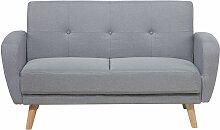 2-Sitzer Sofa Polsterbezug Grau mit Schlaffunktion