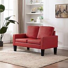 2-Sitzer-Sofa Rot Kunstleder - Rot