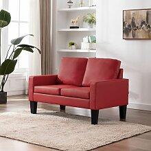 2-Sitzer-Sofa Rot Kunstleder