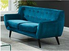 2-Sitzer-Sofa Samt SERTI - Blaugrün