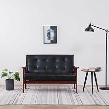 2-Sitzer-Sofa Schwarz Kunstleder - Youthup