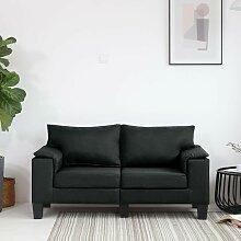 2-Sitzer-Sofa Schwarz Stoff - Youthup