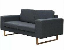 2-Sitzer Sofa Stoff Dunkelgrau 09673 - Topdeal