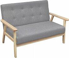 2-Sitzer-Sofa Stoff Hellgrau 09151 - Topdeal