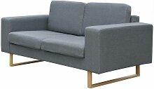 2-Sitzer Sofa Stoff Hellgrau 09671 - Topdeal