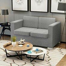 2-Sitzer Sofa Stoff Hellgrau 09915 - Topdeal