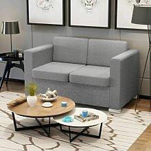 2-Sitzer Sofa Stoff Hellgrau - Youthup