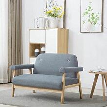 2-Sitzer-Sofa Stoff Hellgrau - Youthup
