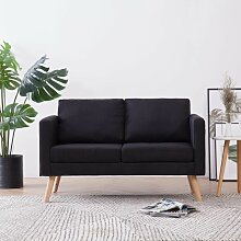 2-Sitzer-Sofa Stoff Schwarz 22958 - Topdeal
