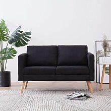 2-Sitzer-Sofa Stoff Schwarz - Youthup