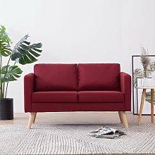 2-Sitzer-Sofa Stoff Weinrot - Youthup