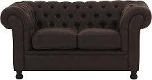 2-Sitzer-Sofa Vintage Braun CHESTERFIELD