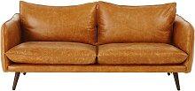 2-Sitzer-Vintage-Sofa, kamelfarbener Lederbezug