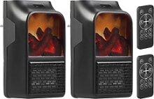 2 Steckdosen-Heizlüfter mit Kaminfeuer-Effekt und