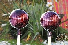 2 Stk Gartenkugel ca. je 25 cm Violett Rosenkugel