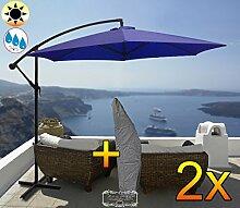 2 Stk. PREMIUM XXL Ampelschirm Durchmesser 300 cm, blau 6-teilig, 6 Streben, robustes ca. 200 g/m² Polyester, Sonnenschirm mit Schutzhülle UV50+ KOMPLETT mit Standkreuz, Standfuß + ca. 50 mm Mast,marine blau groß, guter Sonnenschutz / Regenschutz, PREMIUM XXL-Klappschirm, groß, robust stabil, königsblau cyan blanc-bleu mehrfach verstellbar, Sonnenschirm, Strandschirm, Gartenschirm extrem wetterfest, klappbar, tragbar, seewasserfest, Sonnenschutz, stabiler Schirm