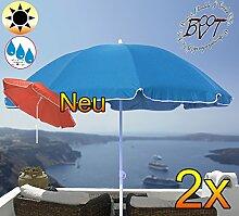 2 Stk. PREMIUM XXL Sonnenschirm, 180 cm / Q 1,80 m EDEL mit Volant, Sonnendach Schirm Strandschirm, blau hellblau/dunkelblau weiß, 8-teilig/8eckiger Strandschirm,Sonnendach /Sonnenschutz Dach, XXL-Klappschirm, Gartenschirm extrem wetterfest, klappbar, tragbar, seewasserfest, hochwertig robust stabil, Sonnenschutz, stabiler Schirm Klappschirm, Strandschirme, Sonnenschirme, Sonnenschirm-Tische