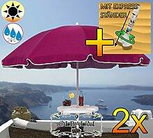 2 Stk. PREMIUM XXL Sonnenschirm mit Getränketisch, 180 cm / Q 1,80 m EDEL mit Volant, Sonnendach Schirm Strandschirm, violett lila hellviolett lila/dunkelviolett lila weiß, 8-teilig/8eckiger Strandschirm,Sonnendach /Sonnenschutz Dach, XXL-Klappschirm, Gartenschirm extrem wetterfest, klappbar, tragbar, seewasserfest, hochwertig robust stabil, Sonnenschutz, stabiler Schirm Klappschirm, Strandschirme, Sonnenschirme, Sonnenschirm-Tische
