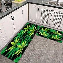 2 STK rutschfest Küchenmatte,Marihuana Cannabis