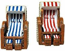 2 Strandkörbe rot-weiß und blau-weiß, 6,5x6,5x5,5cm Polyresin