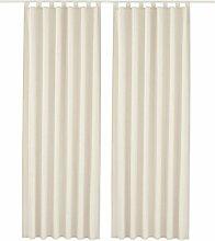 2 Stueck 140*145 cm Dekoschal Vorhaenge Schlaufenschal Gardine Fenster-Vorhang,Beige