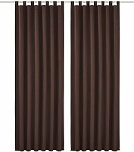 2 Stueck 140*225 cm Dekoschal Vorhaenge Schlaufenschal Gardine Fenster-Vorhang,Braun