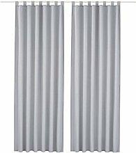 2 Stueck 140*245 cm Dekoschal Vorhaenge Schlaufenschal Gardine Fenster-Vorhang,Grau