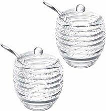 2 Stück Acryl Honigglas Gewürzglas mit Löffel