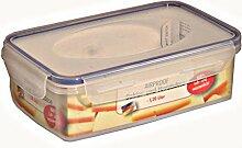 2 Stück AXENTIA Airproof Vorratsdosen, Frischhalteboxen, Gefrierdosen, Multifunktionsboxen 1,20 Liter eckig 21,5 x 13,5 x 7,0 cm, Set by Danto®