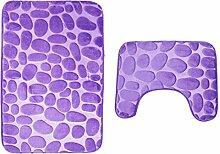 2 Stück Badematten Stein Bad Sockel Non Slip Comfy Teppichboden Sockel Matte Weiche Baumwolle Waschbar , purple