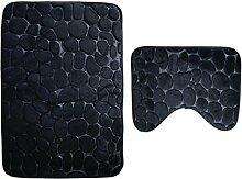 2 Stück Badematten Stein Bad Sockel Non Slip Comfy Teppichboden Sockel Matte Weiche Baumwolle Waschbar , black