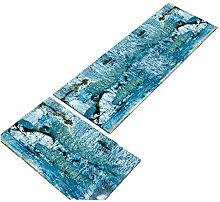 2 Stück Blau Küchenteppich Läufer Waschbar