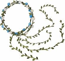 2 Stück Blume Stirnband + Grün Blau + Grün New