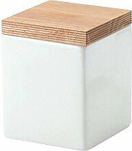 2 Stück Continenta Vorratsdose aus Keramik, quadratisch, mit Holzdeckel, luftdichter Vorratsbehälter, 0,8 Liter, 10 x 10 x 12,5 cm, Set by Danto®
