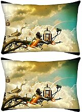 2Stück Creative Tapete Ideen Rechteck Überwurf Werfen Kissenbezug, Decoarative Kissen Fall 35,6x 17,8cm