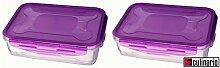 2 Stück culinario Cloc Vorratsdose und Frischhaltedose, BPA-frei, lila, 1,2 l