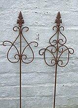 2 Stück dekorative Rankstäbe, Rankhilfe, verzierte Spitze, Eisen, Rost, 70 cm