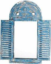 2 Stück Esschert Design Wandspiegel, Garderobenspiegel im Louvre Stil, verwittertes blau mit Fensterläden, ca. 39 cm x 55 cm