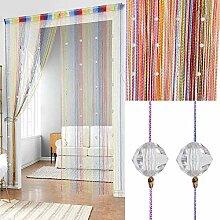 2 Stück Kristall-Perlenvorhang, Quasten-Vorhang,