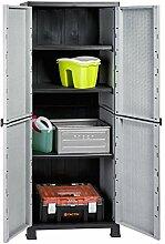 2 Stück Kunststoffschrank mit Rattan-Design! Jeder Schrank abschließbar, mit 3 höhenverstellbaren Böden und vier Füßen. Topp für Haushalt, Werkstatt, Garage und Garten! 68 x 40 x 171 cm