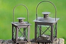 2 Stück Laterne, Windlicht Farol mit Henkel in antikbraun aus Eisen, ca. 12,5 cm hoch