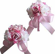 2Stück/lot Künstliche Blumen Boutonniere Knopflöcher Bräutigam und Braut Handgelenk Corsage Brosche Hochzeit Blumen Zubehör Ball Party Anzug Dekoration rose