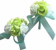 2Stück/lot Künstliche Blumen Boutonniere Knopflöcher Bräutigam und Braut Handgelenk Corsage Brosche Hochzeit Blumen Zubehör Ball Party Anzug Dekoration grün