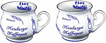 2 Stück- maritim- Porzellan- Tasse, Kaffeepott, bauchiger Becher- Hamburg -deutsches Produktdesign